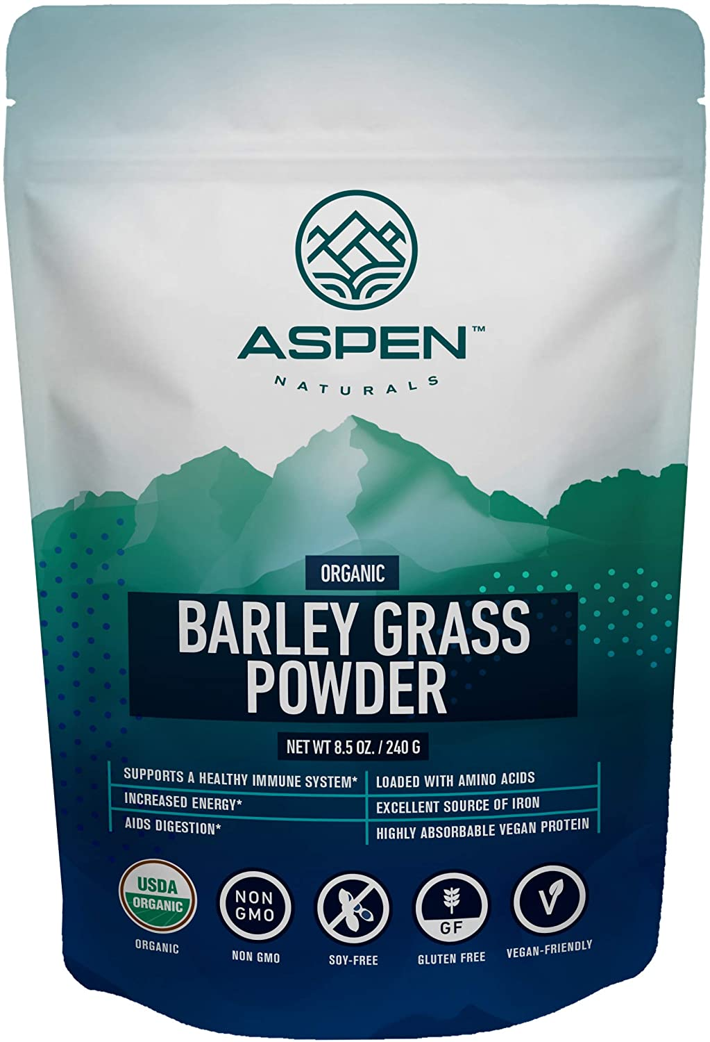 Aspen Naturals Organic Barley Grass Powder - USA Grown, Premium Superfood. Supports a Healthy Immune System and is Rich in Amino Acids, Vitamins, Chlorophyll. Add to Juice, Smoothies & More