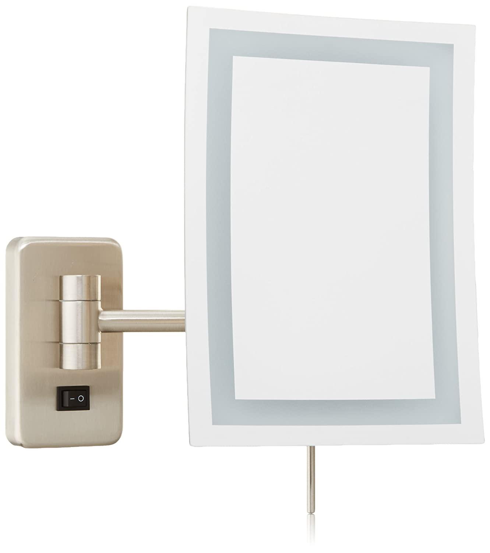 Jerdon JRT710NLD Wall Mount Rectangular Direct Wire Makeup Mirror, Nickel Finish, 6.5 x 9