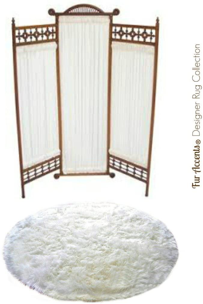 White Shag Round Rug - Sheepskin - Faux Fur - 100% Animal Friendly - Fur Accents - USA (30'' Diameter, White)