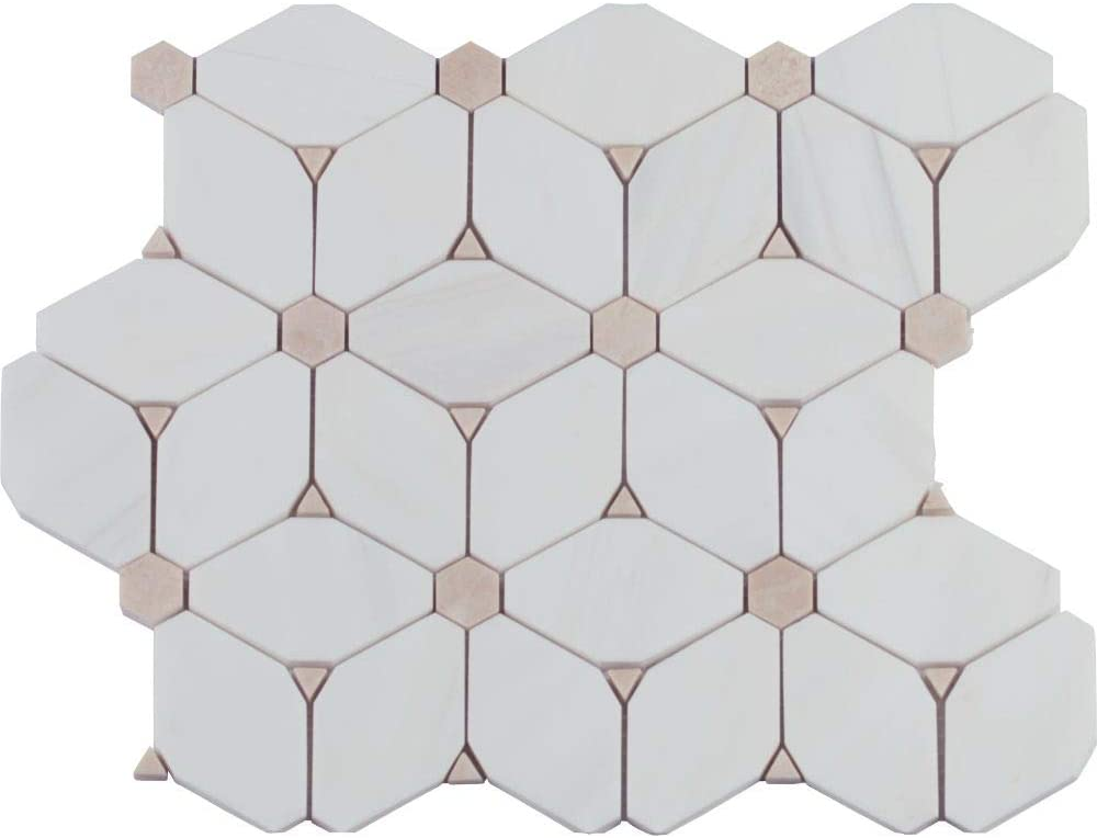 Cecily Pattern Polished Marble Mosaic, 7SFT/case, (7Pcs)