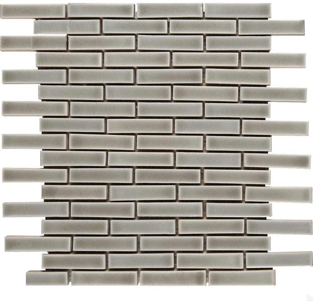 Dove Gray Brick Pattern Crackle Finish Mosaic, 10 SFT/Case, (10 Pcs)