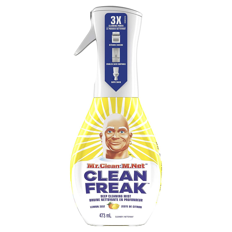 Mr. Clean Freak Deep Cleaning Mist Multi-Surface Spray, Lemon Zest Scent Starter Kit, 16 fl oz (Pack of 6)