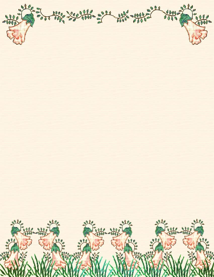 NEW Orange & Green Floral Letterhead Stationery Paper 26 Sheets