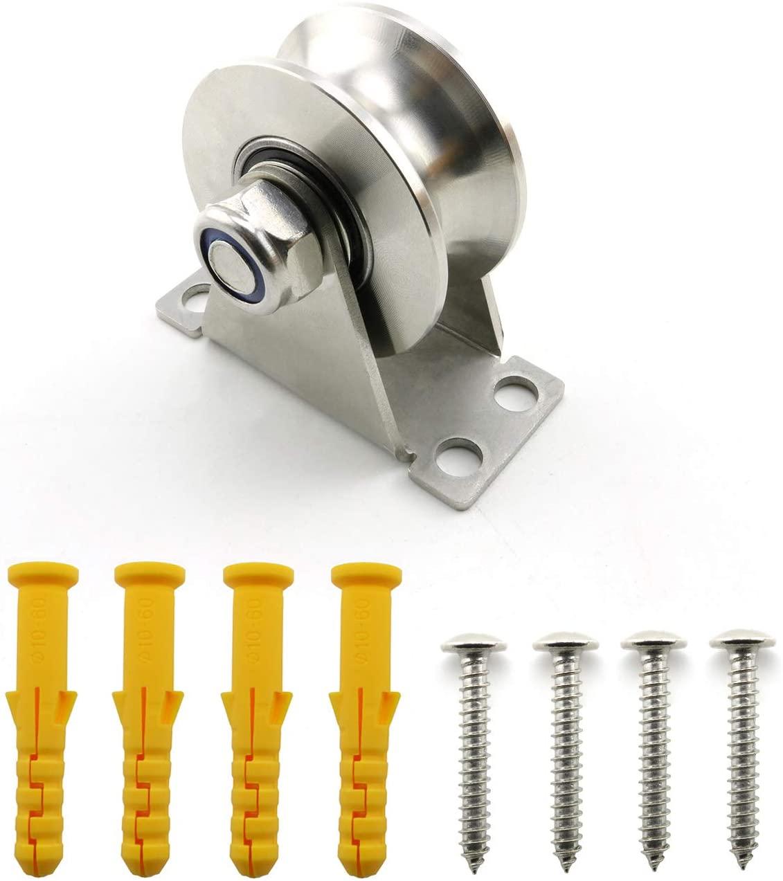 Lind Kitchen 1-Pack U-Type Stainless Steel Pulley Block Mute Bearings Groove Sliding Roller Track Wheel