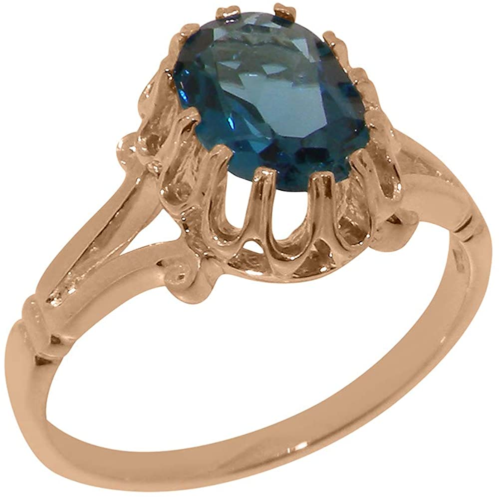 Solid 14k Rose Gold Natural London Blue Topaz Womens Solitaire Ring - Sizes 4 to 12 Available