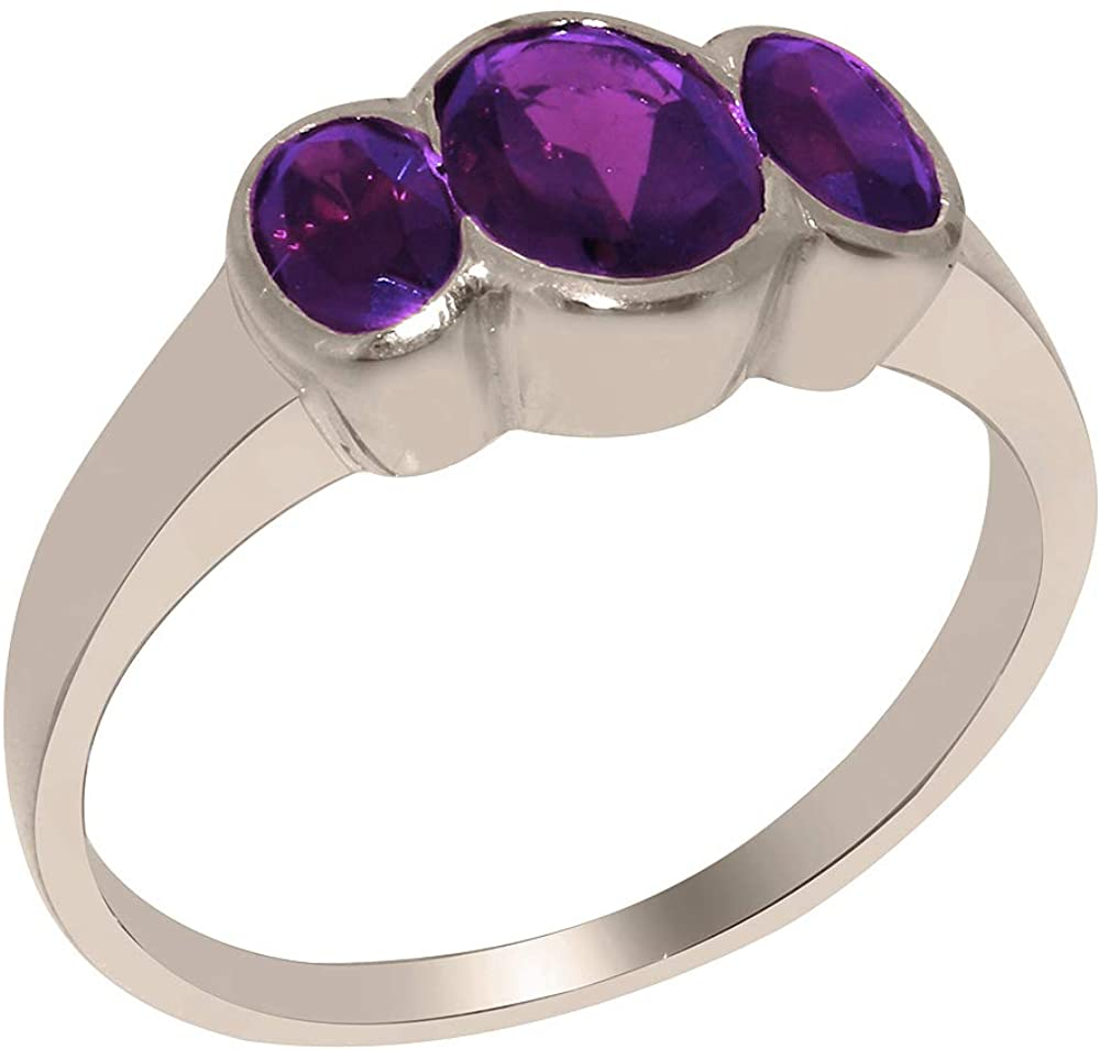 Solid 925 Sterling Silver Natural Amethyst Womens Trilogy Ring - Sizes 4 to 12 Available