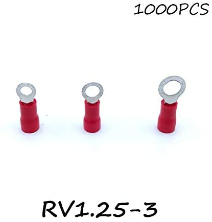 Onvas Ring Insulated Connector Terminal Block 1000PCS RV1.25-3 Red Cable Wire Electrical Crimp Terminator A.W.G 22-16 Cap