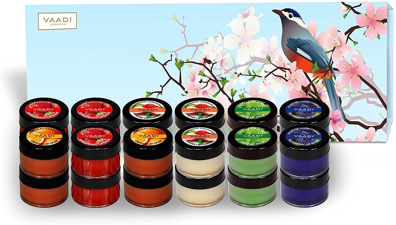 Lip Balm Gift Set - All Natural - Herbal Lip Therapy - Pack of 24 X 10 Gms - Beautiful Gift Packs - Vaadi Herbals