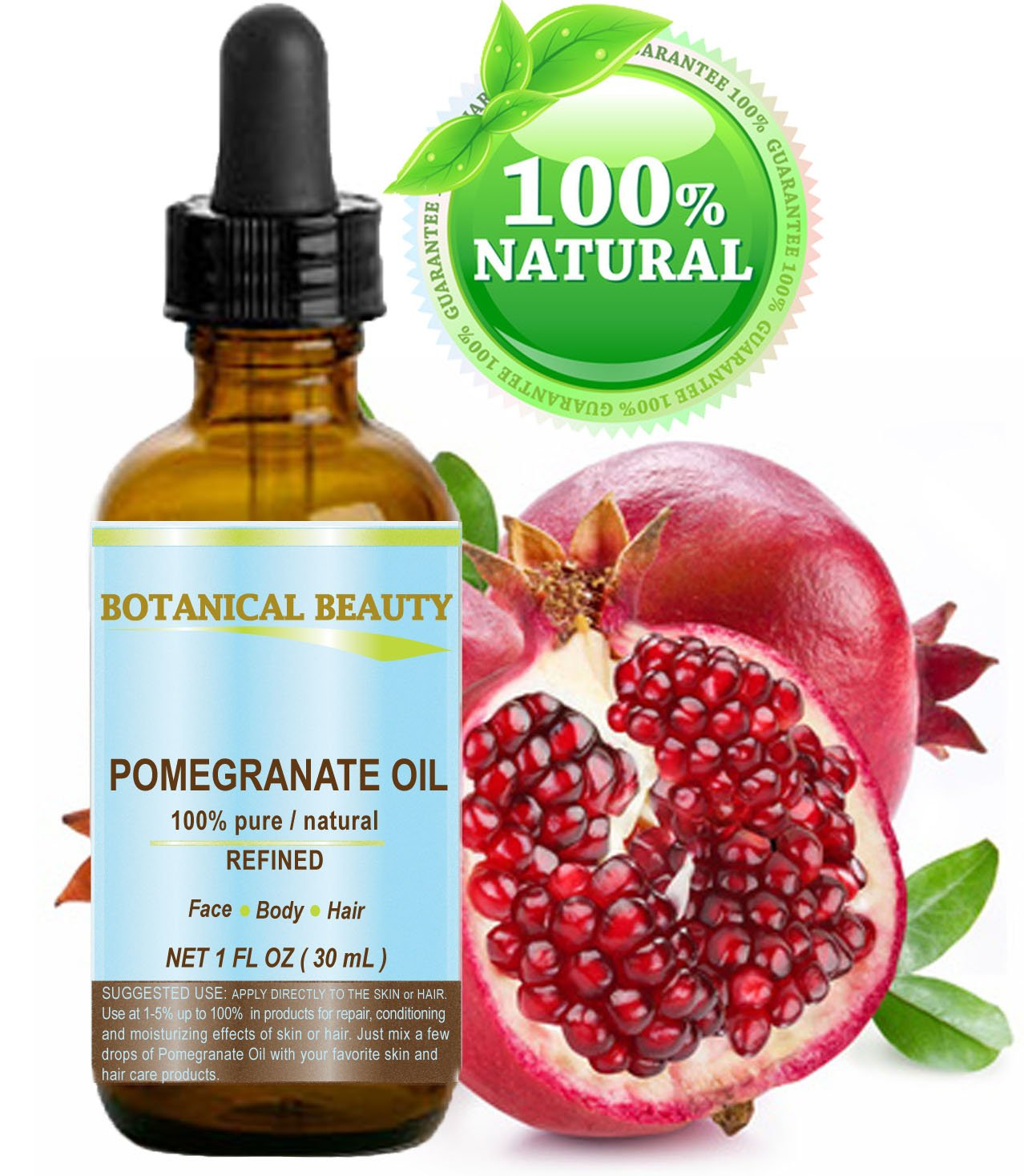 POMEGRANATE OIL 100% Pure, 100% Natural 2oz-60ml. For Face, Hair and Body. Amazing skin care for beautiful, younger-looking skin.