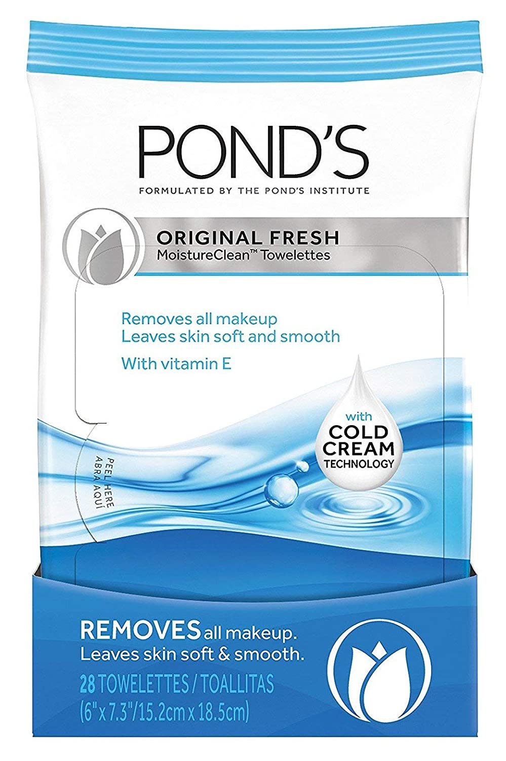 Ponds Towelettes Original Fresh 28 Count (30ml) (6 Pack)