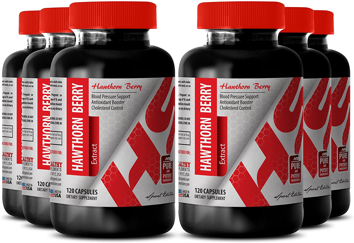 Hawthorne Extract Powder - Hawthorn Flower and Leaf Extract 665 MG - Support Circulation (6 Bottles)