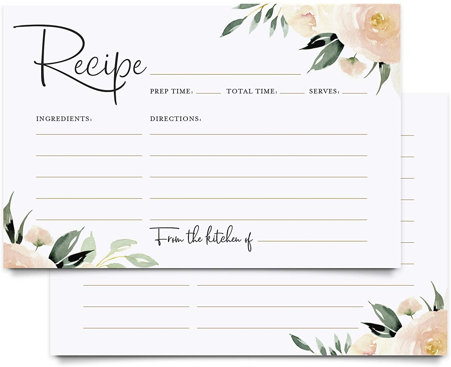 Bliss Collections Floral Recipe Cards, Double Sided, Coral and Greenery Flower Design for Bridal Shower, Wedding Shower, Housewarming Gift! Pack of 50 4x6 Cards