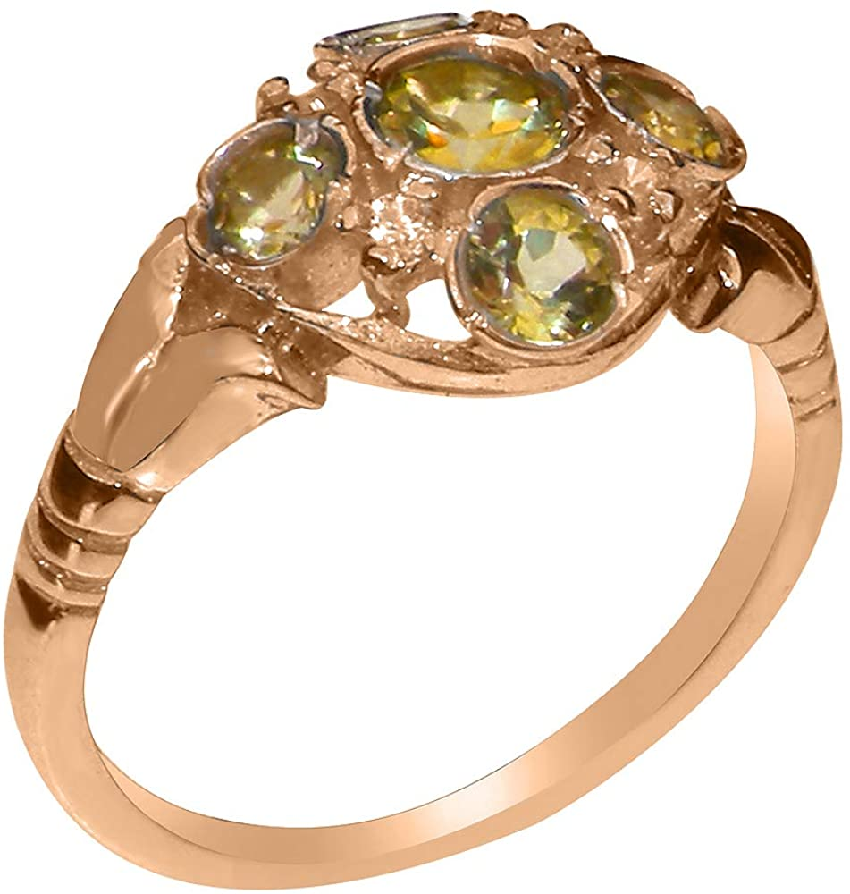 Solid 18k Rose Gold Natural Peridot & Cubic Zirconia Womens Cluster Ring - Sizes 4 to 12 Available