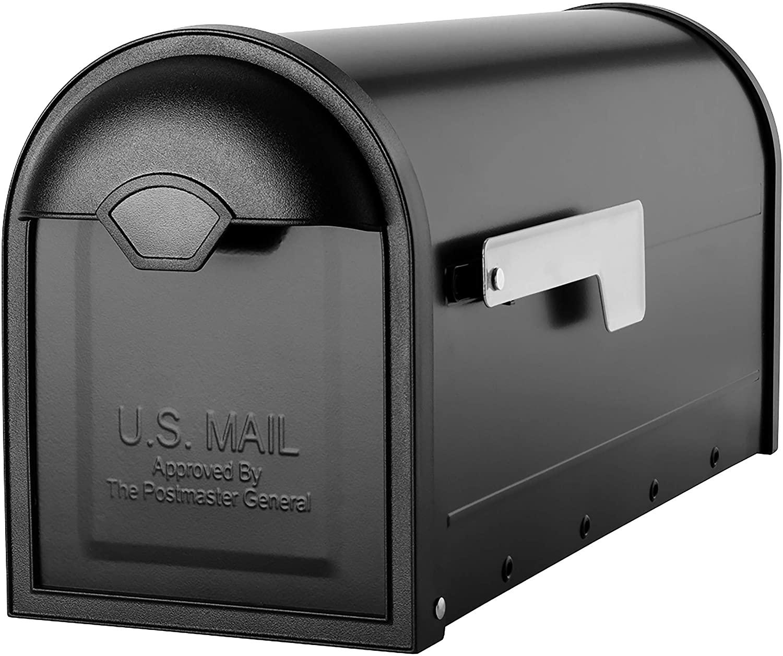 Architectural Mailboxes 8830B-10 Winston Nickel Flag Post Mount Mailbox, Medium, Black