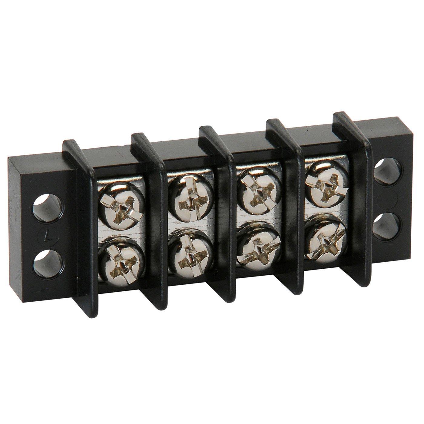 NTE Electronics 25-B500-04 Series 25-B500 Terminal Block Barrier Strip, Dual Row Panel Mount, 20 Amp, Dual Row, 4 Pole, 9.50 mm Pitch, 300V, 22-14 AWG Wire Range