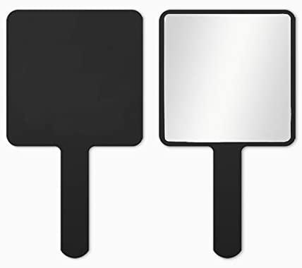 TOPYHL Rectangle Handheld Mirror Hand Mirror Travel Handheld Mirror Cosmetic Mirror with Handle (Black)