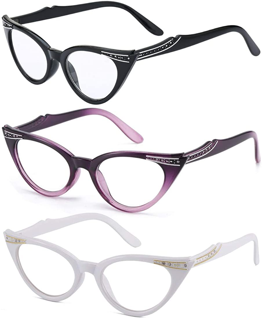 Readers 3 Pack of Thin and Elegant Womens Reading Glasses With Rhinestones