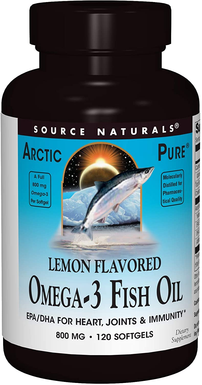 Source Naturals ArcticPure Omega-3 Fish Oil 800mg Maximum Potency EPA + DHA For Heart, Joint, Brain & Immune Health - Non-Fishy Lemon Flavor - 120 Softgels