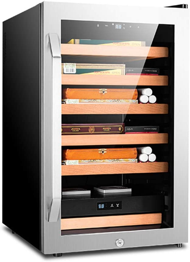 Constant Temperature Humidity Intelligent Cedar Wood Shelf Cigar Cabinet, Intelligent Control System/Negative Ion Purification/Circulating Frost-Free Air Cooling, Storage Capacity: 400 Cigars,A