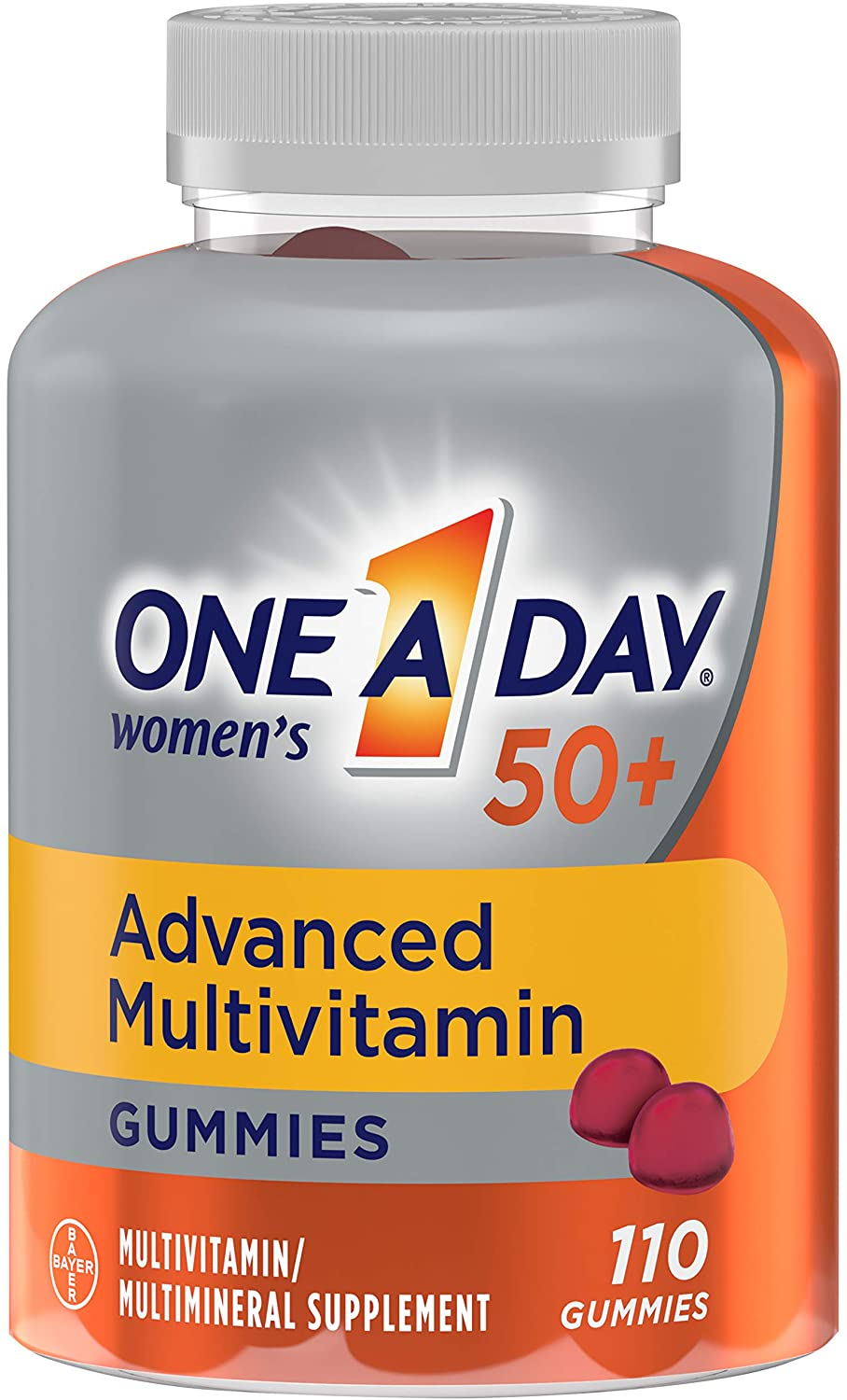 ONE A DAY Women's 50+Gummies Advanced Multivitamin with Brainsupport,super8 Bvitamincomplex,110count, Strawberry, 110 Count