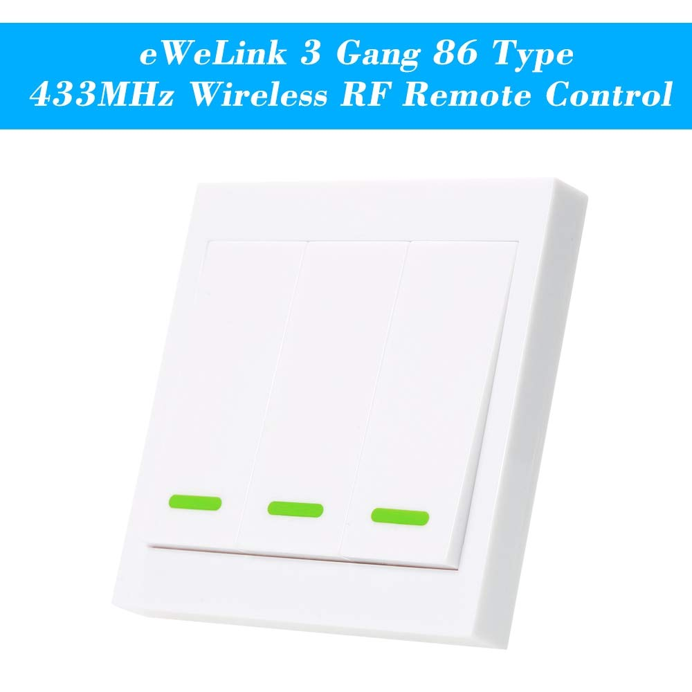 Calvas 4PCS EWeLink Wall Light Switch Push Button Remote Controller 3 Gang 86Type 433MHz Wireless RF Remote Control Living Room Bedroom - (Color: 1pcs)