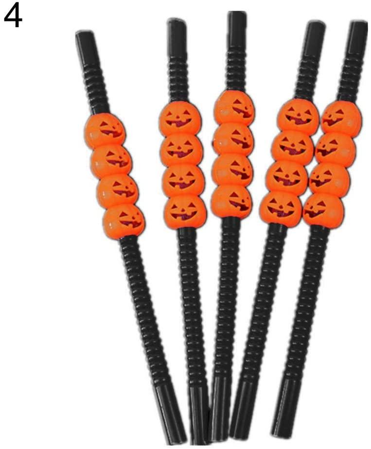 fanmaosdf Halloween Straw,5Pcs Halloween Pumpkin Skeleton Reusable Drinking Straws Home Party Supplies Black Pumpkin# 5pcs