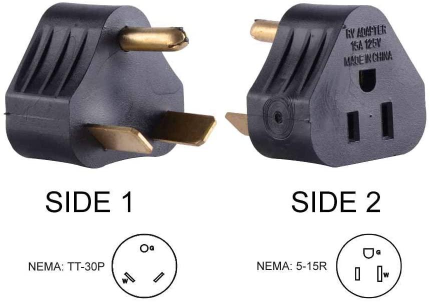 Union Electric RVA1515 15 Amp Male NEMA 5-15P to 30 Amp Female NEMA TT-30R Adapter Plug (Triangle) (30 Amp Male to 15 Amp Female)