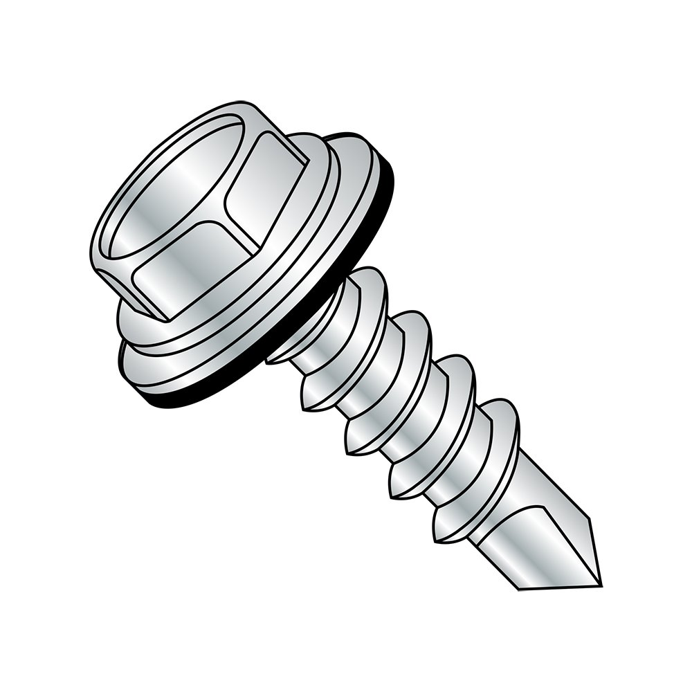 Steel Self-Drilling Screw, Zinc Plated Finish, Sealing Hex Washer Head With EPDM Washer, Hex Drive, #3 Drill Point, 5/16