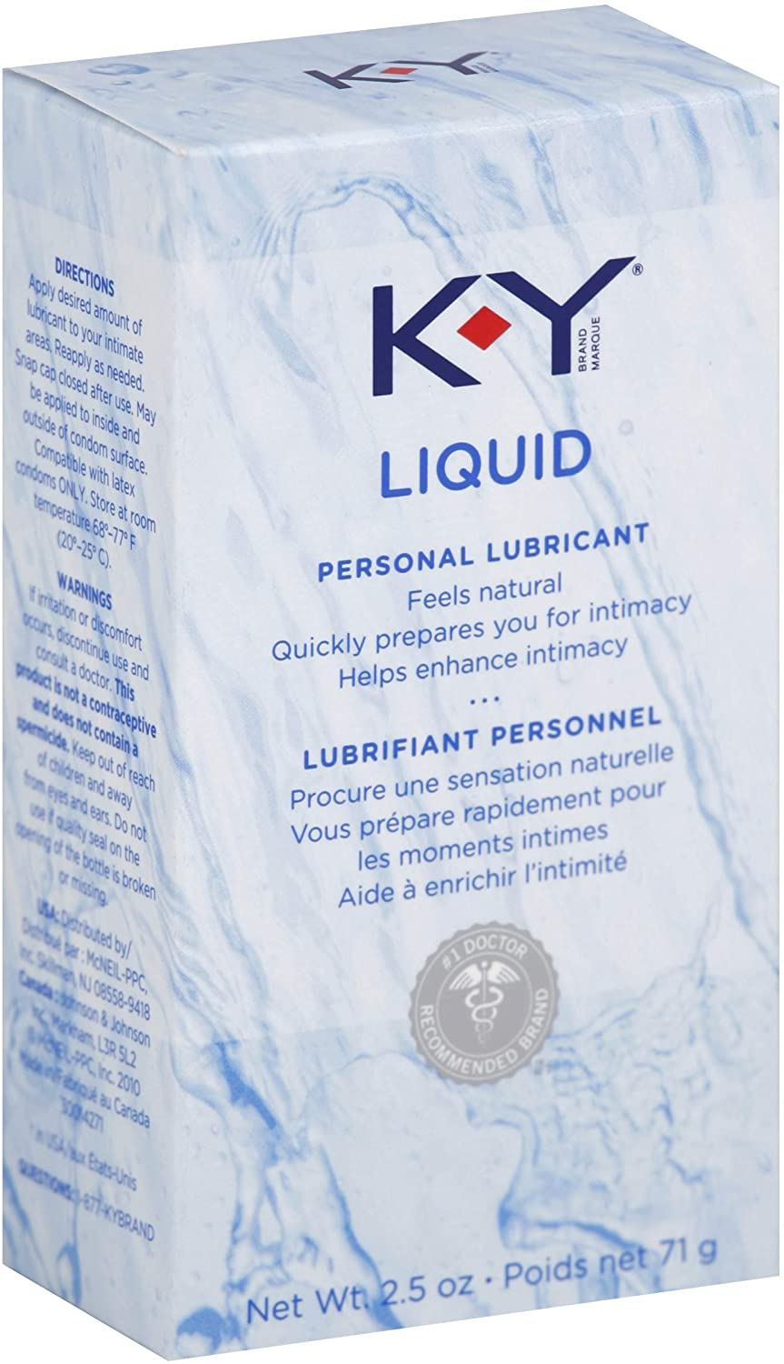 K-Y Liquid Personal Water Based Lubricant, 2.5 Ounce (Pack of 4)