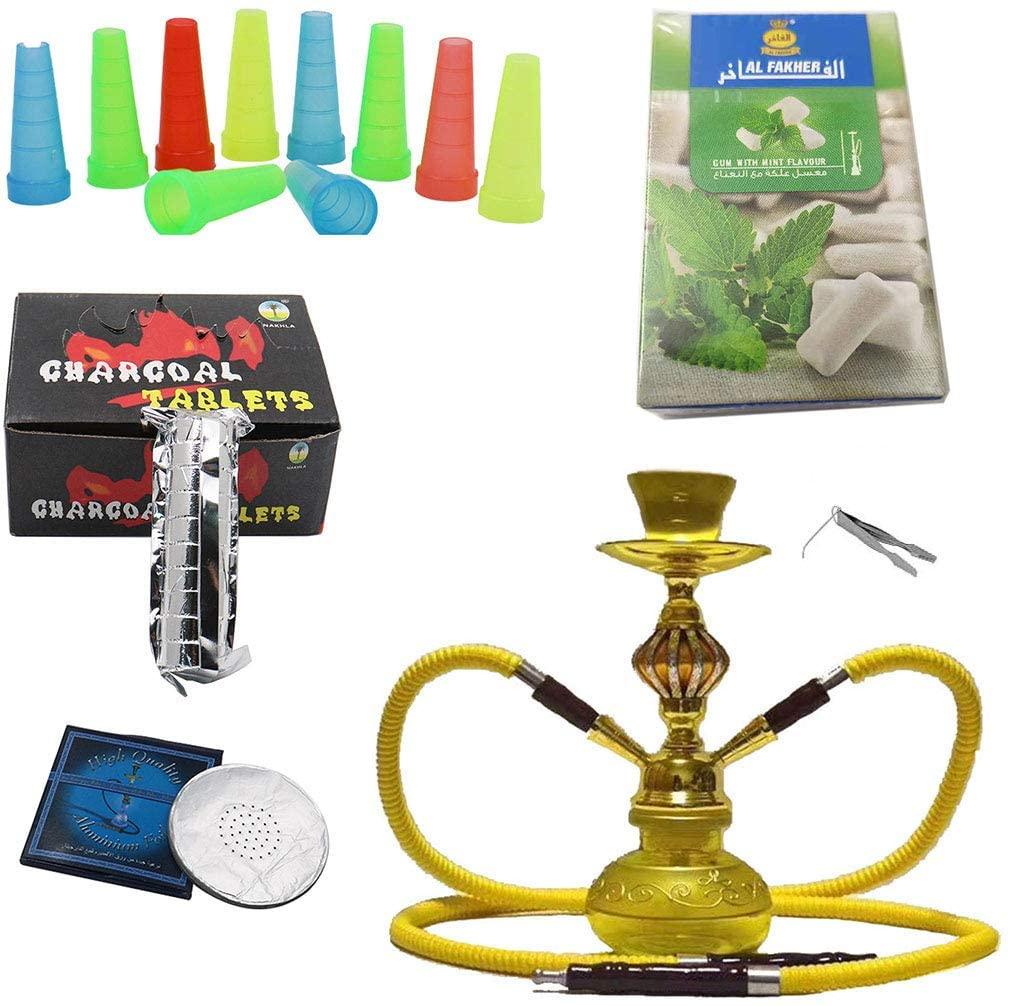 Hookah Set Large Double Hookah Hose Hookah Shisha Complete Set Many Accessories, NO nicotine, Stylish Hookah Sheesha for Bar, Ktv, Coffee-yellow