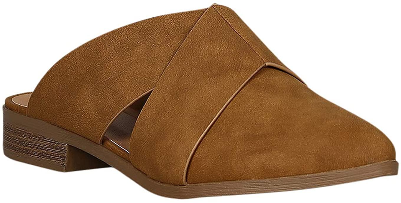 Alrisco Women Leatherette Pointy Toe Side Cutout Slip On Mule RB50