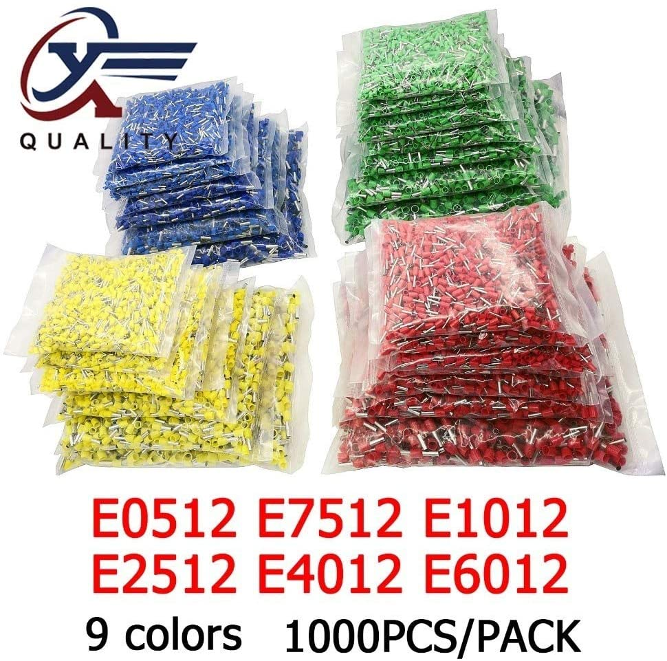 Davitu Terminals - 1000pcs/Pack E0512 E7512 E1012 E1512 E2512 Insulated Ferrules Terminal Block Cord End Wire Connector Electrical Crimp Terminator - (Color: 1 pack Orange, Pins: E6012)
