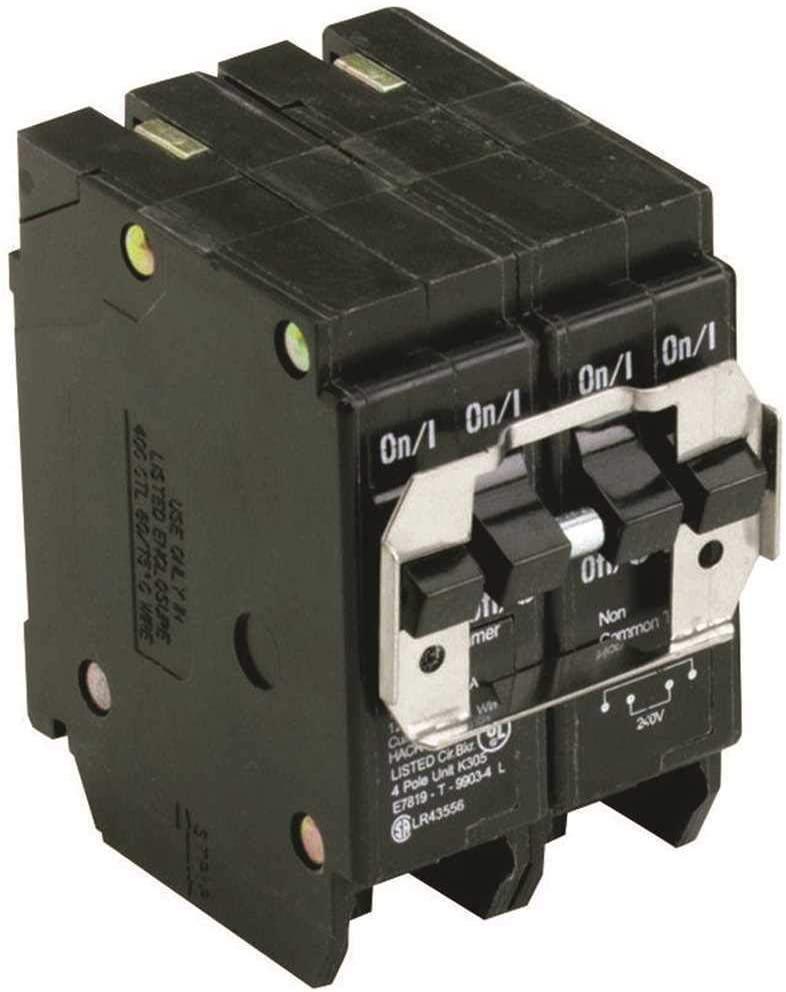 Eaton BQC230240 Plug-On Mount Type BQC Quadplex Circuit Breaker 4-Pole (1) 30 Amp (1) 40 Amp 120/240 Volt