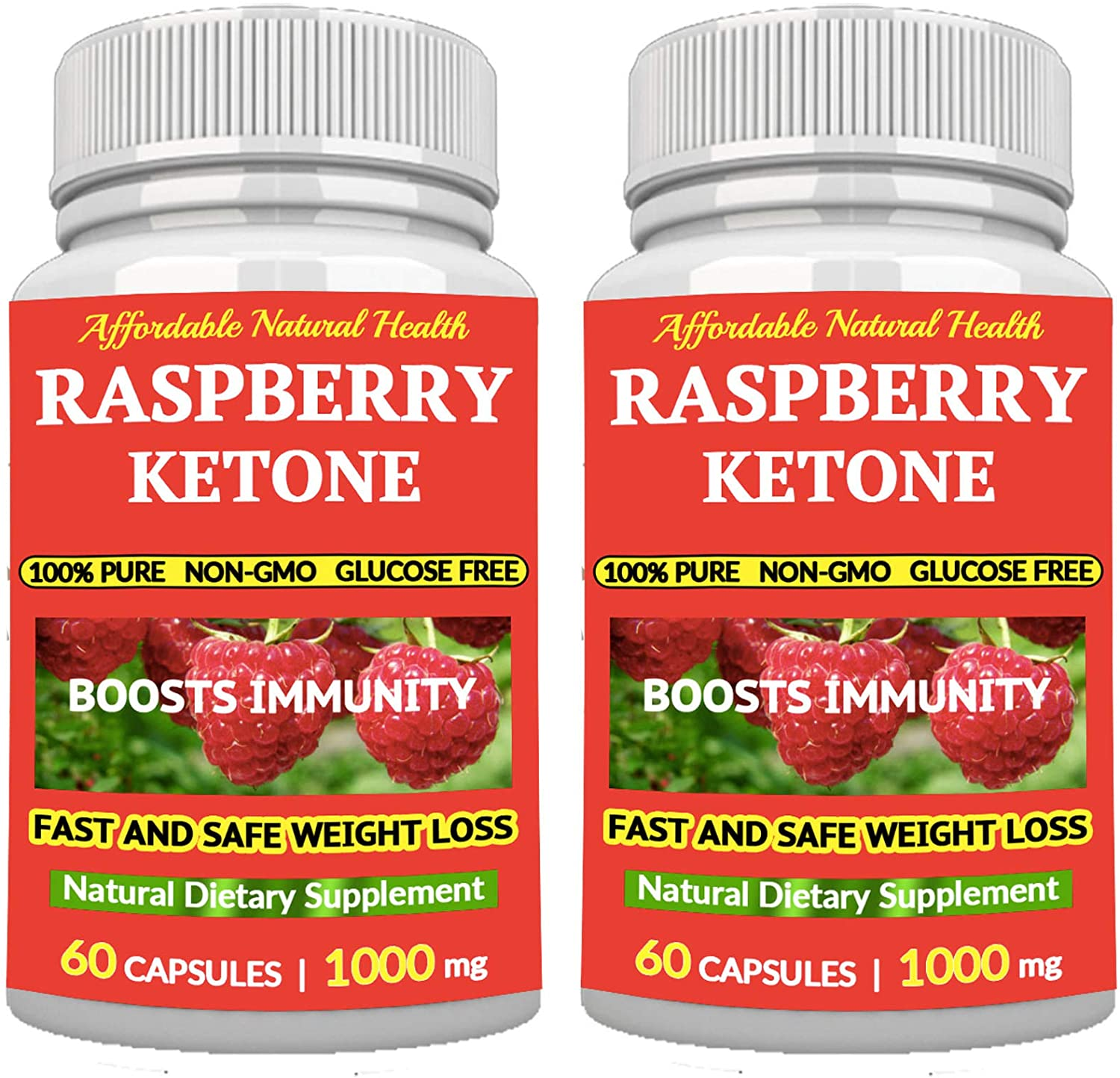 2 Raspberry Ketones - All Natural Weight Loss Supplement - 1000 mg - 120 Capsules - 2-4 Month Supply - 100% Pure - Appetite SUPPRESSANT Diet Pills - BOOSTS Energy and Metabolism