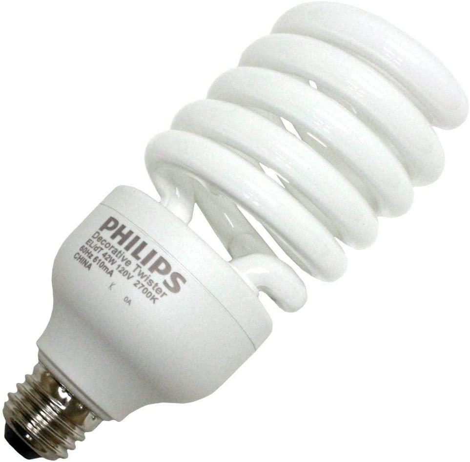 PHILIPS 13948-5 - 42 Watt CFL Light Bulb - Compact Fluorescent - - 150 W Equal - 2700K Warm White - 82 CRI - 67 Lumens per Watt - 12 Month Warranty