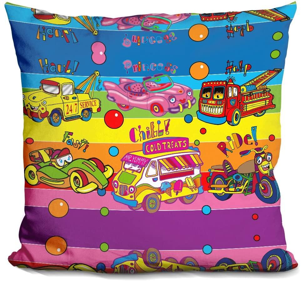LiLiPi Pop Vehicles Decorative Accent Throw Pillow