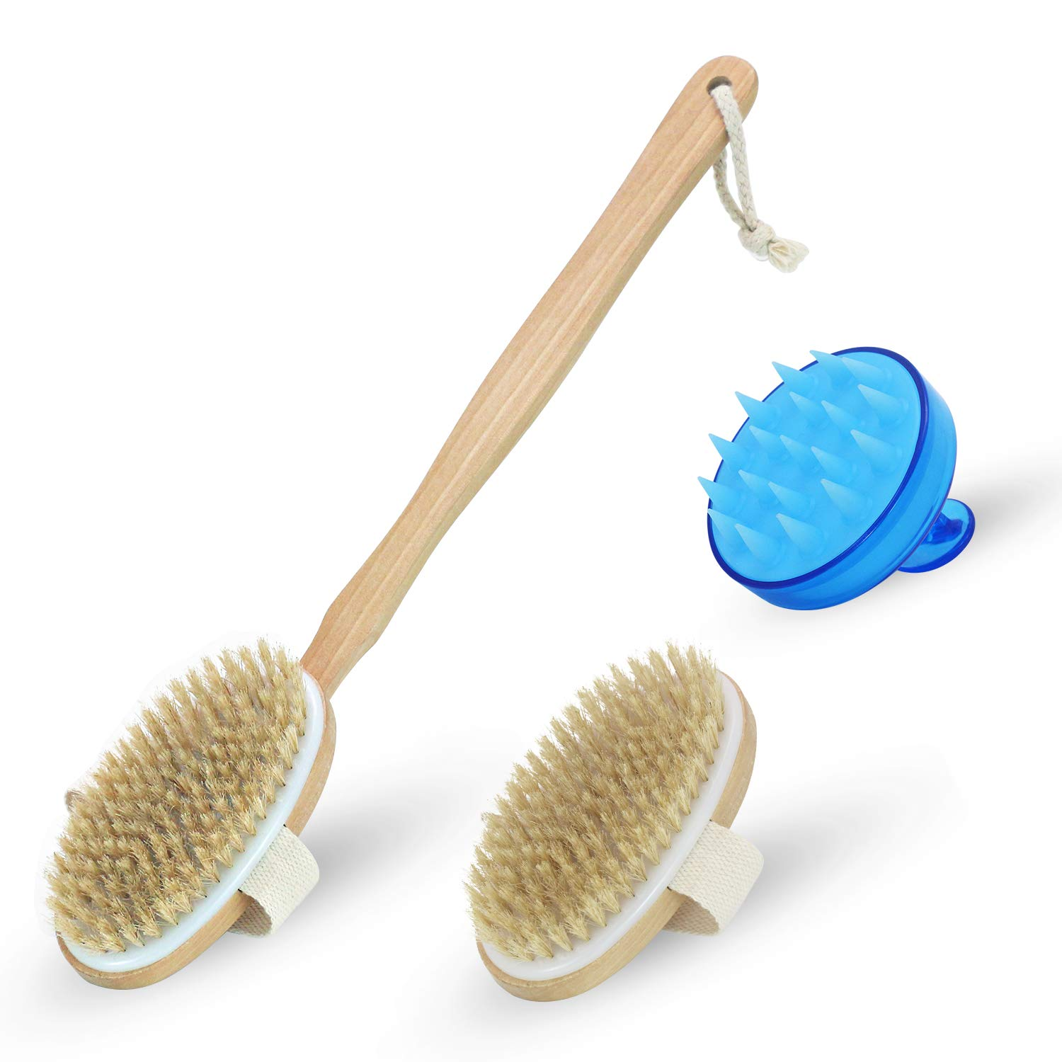 Body Dry Bristle Scrub Brush: Natural Shower Exfoliating Skin Scrubber Brush|Men and Women Cellulite and Lymphatic Massage Brush|Long Detachable Handle for Back Scratcher|HairMassage Kit