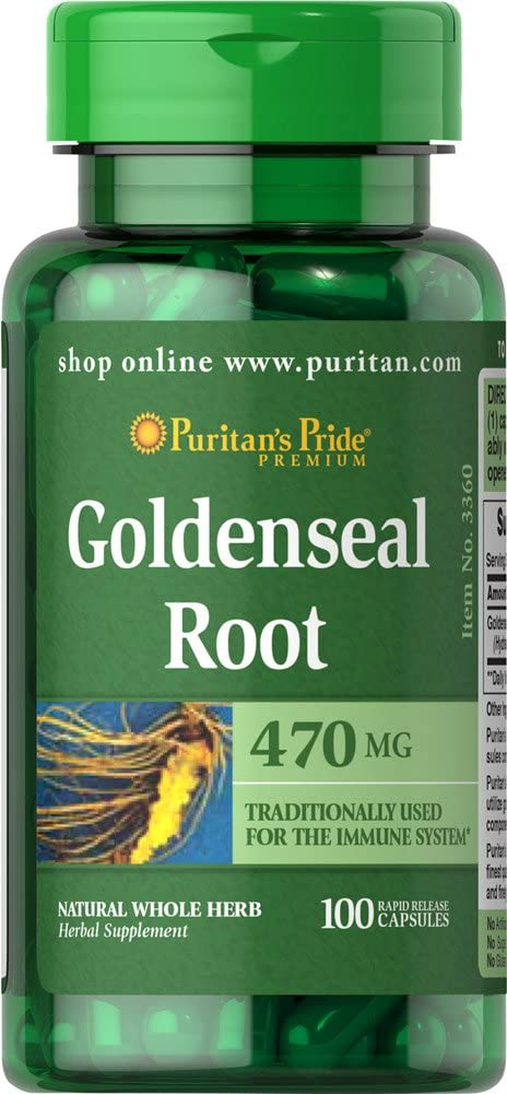 Puritan's Pride Goldenseal Root 470 mg-100 Capsules