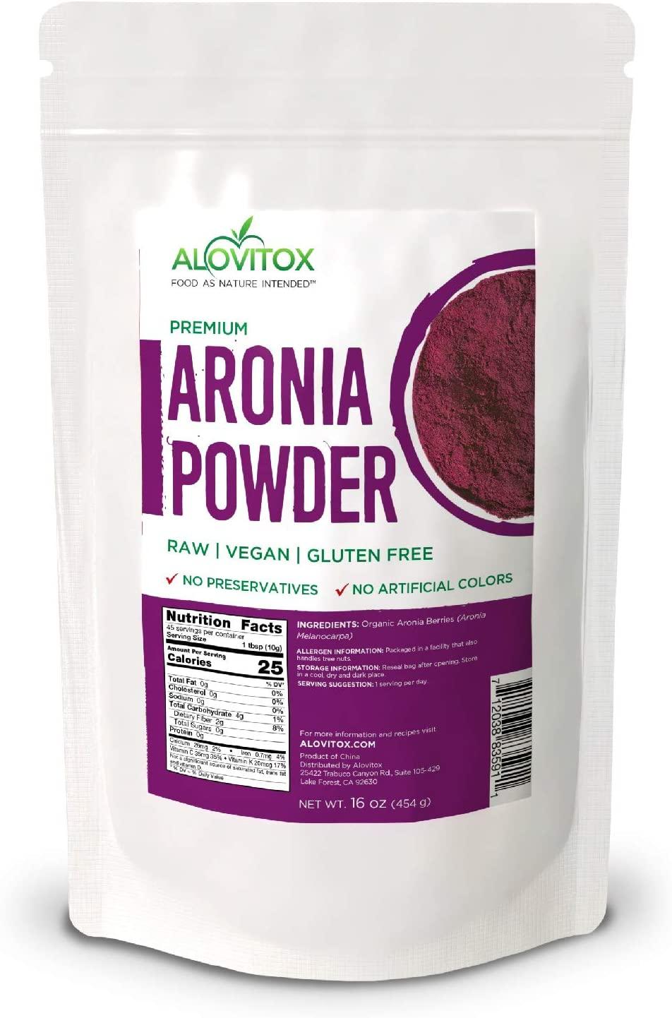 Aronia Juice Powder | Antioxidant Dense Superfood Naturally Containing Dietary Fiber, Vitamins A, K, C, and E, Calcium and Iron | RAW, Non-GMO, Gluten Free, Water Soluble RAW Aronia Juice Powder