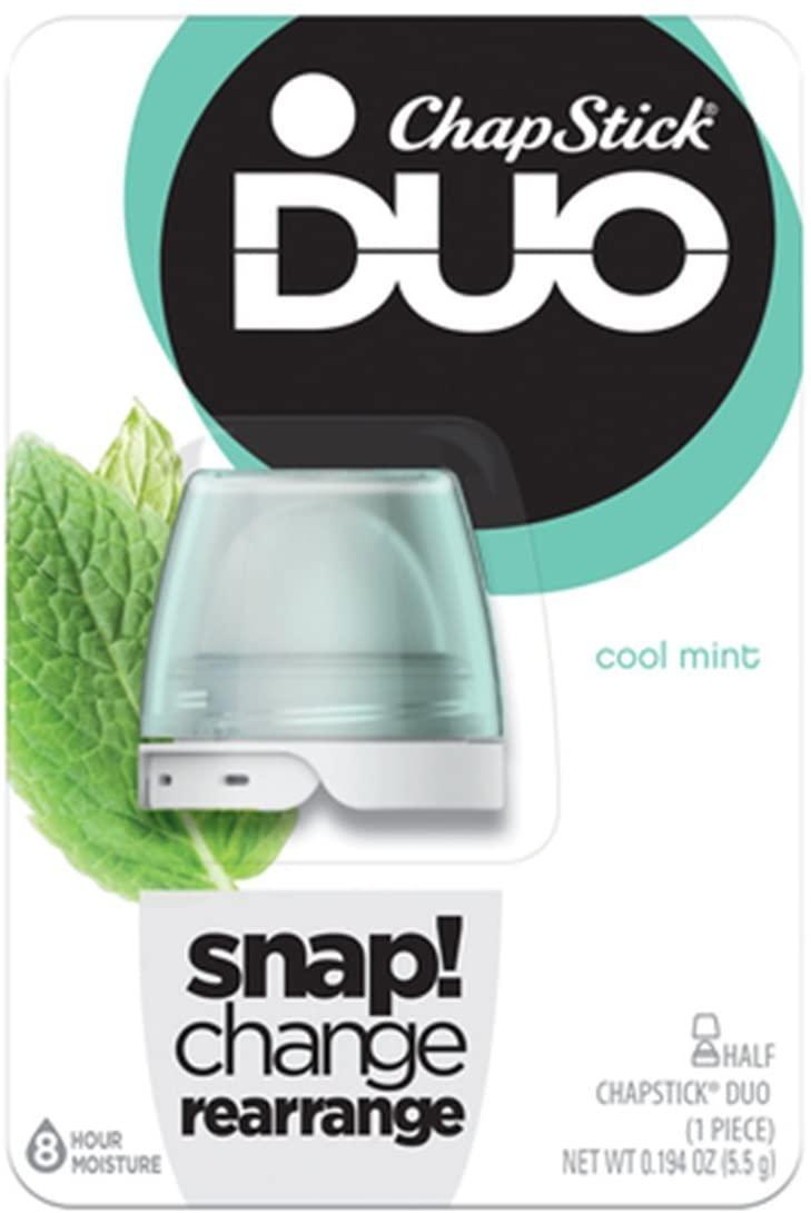 Chapstick Duo Half Lip Balm, 8 Hour Moisture, 0.194 Oz (Cool Mint Flavor, 1 Blister Pack of 1Piece)