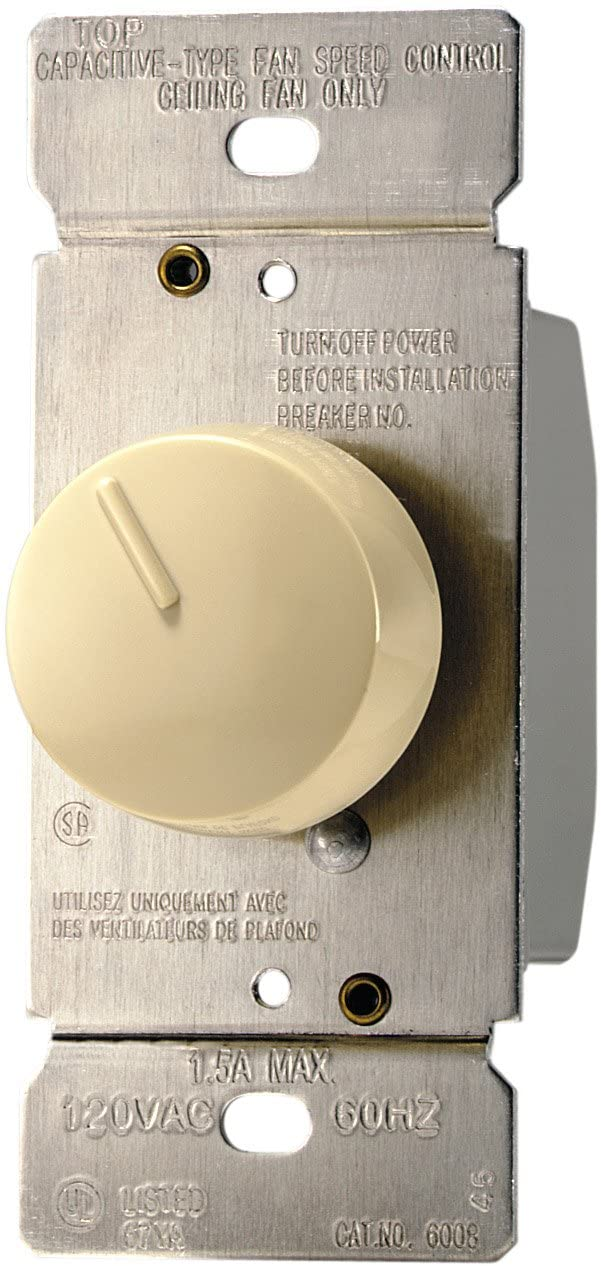 Eaton RFS15-V-K 1.5-Amp 120-Volt Single-Pole Quiet 3-Speed Fan Control, Ivory