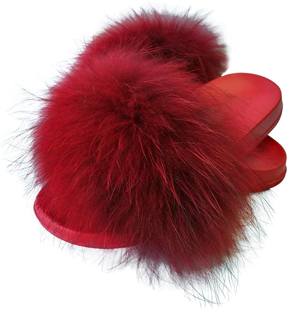 Hipretty Women's Real Fox Fur Slides, Open Toe Cute Fur Slippers, Indoor or Outdoor Comfortable Fur Slide Sandals with Fluffy Fur and Soft Sole