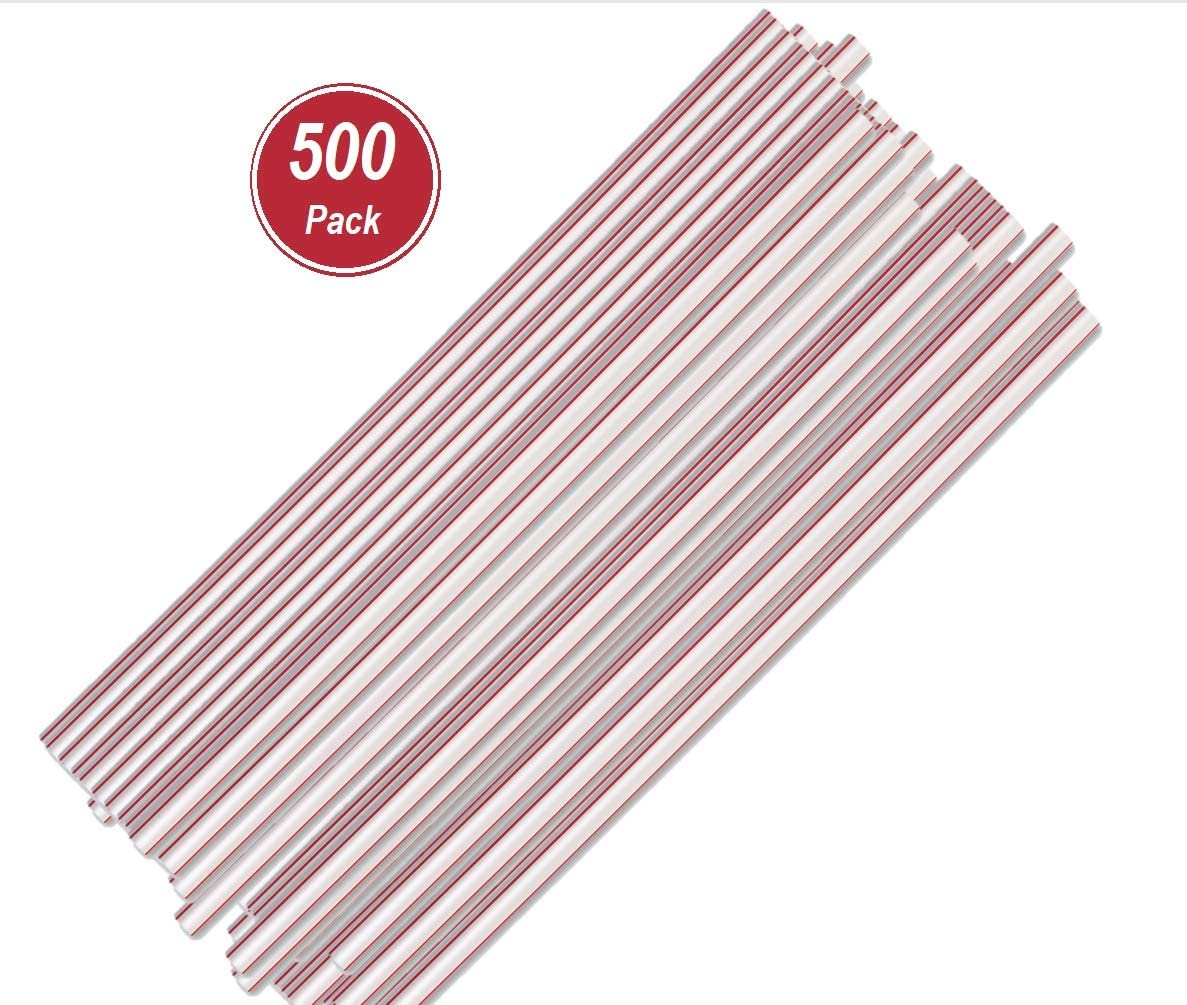 1InTheHome Jumbo Straws, Plastic Drinking Straws Red And White Striped, 500 Pack Disposable Straws