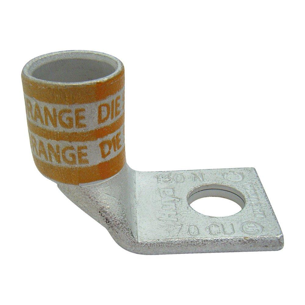 Huya Compression Connector Da3014a 0ne Hole Lug 90degree Straight Standard Barrel, 3/0 Kcmil Wire, 1/4