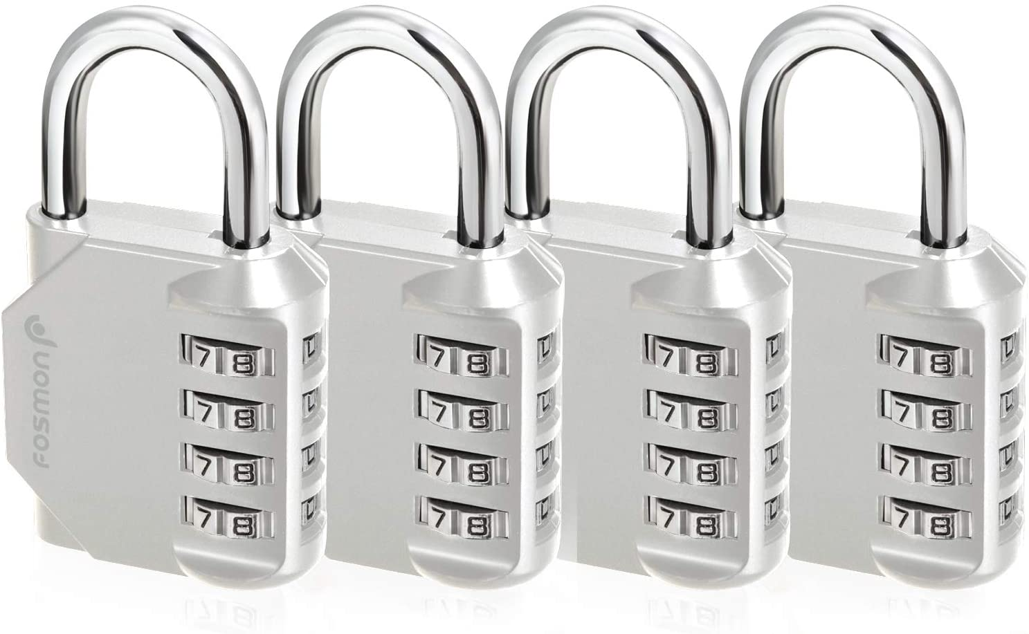 Fosmon Combination Lock (4 Pack) 4 Digit Padlock with Metal Alloy Body for School, Gym Locker, Gate, Bike Lock, Hasp and Storage - Silver