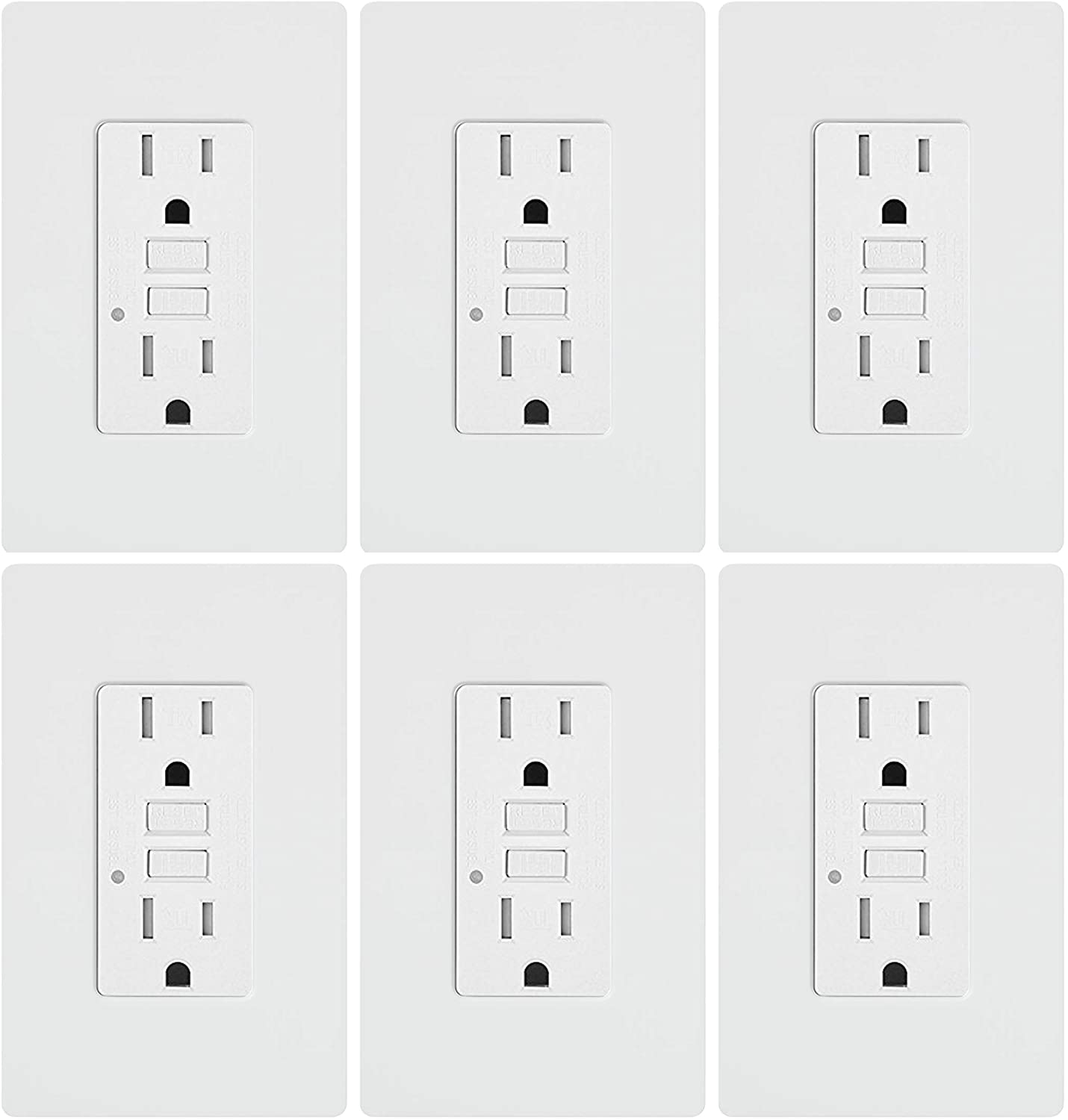 GFCI Outlet Tamper Resistant Receptacle with LED Indicator, 15 Amp 125 Volt Wallplate and Screws Included ETL listed MICMI(15A GFCI 6pack)