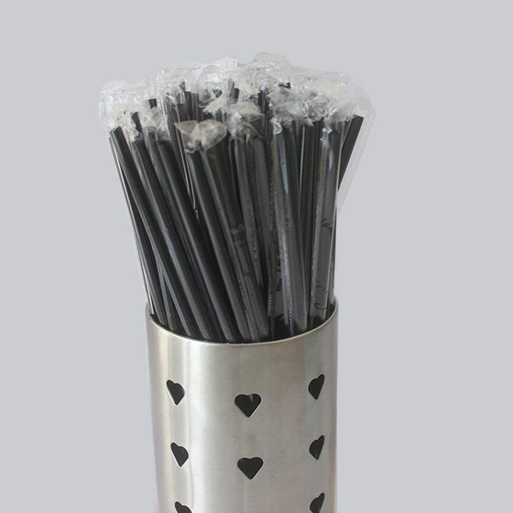 Qsir A Pack Of 200 Cocktails Decorative Straws Bar Cafe Western Food One-time Lengthening Individually Wrapped Art Straws About 32cm After Stretching Black