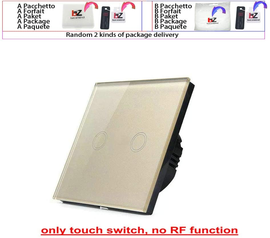 EU/UK Standard Wall Switch, Light Touch Switch 2 Gang 1 Way AC110V-240V Wall Touch Switch,Gold 2 Open
