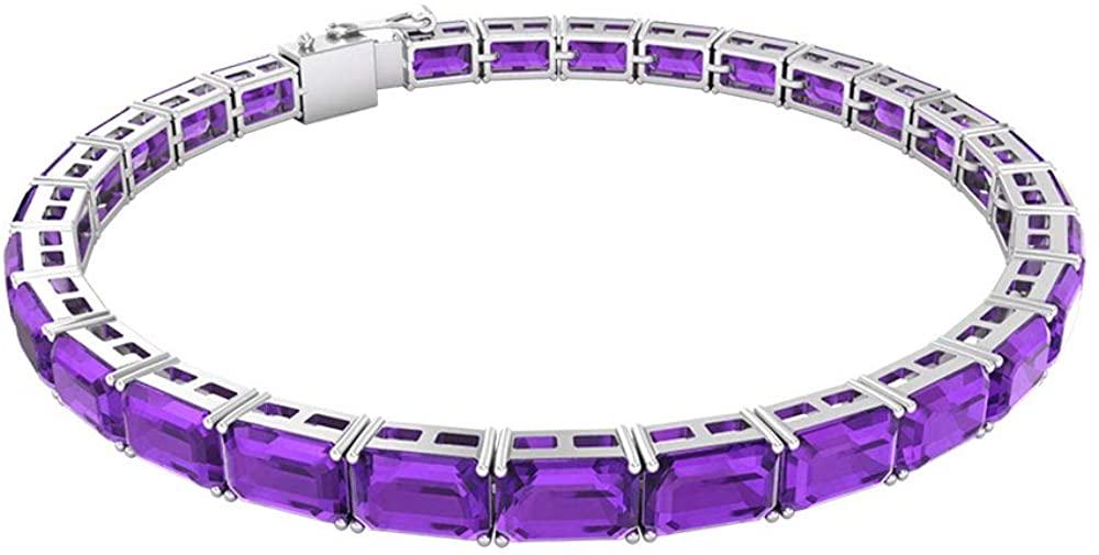 15.4 Ct SGL Certified Amethyst Tennis Bracelet, Classic Women Gold Bracelet, Octagon Shape Gemstone Bridal Bracelet, Statement Wedding Charm Bracelet