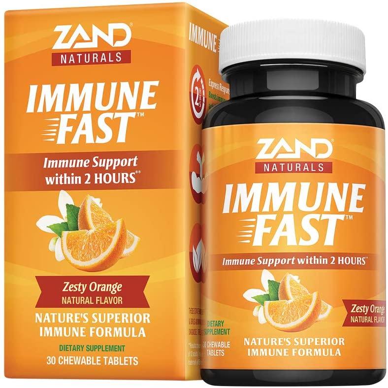 Zand Immune Fast Zesty Orange Chews | Boosts Immune Response & Cell Activity w/EpiCor*, Echinacea, 30 Tablets, 10 Serv.